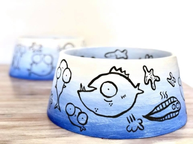 Illustrations of pooping and farting fish for the Adelaide City Council's SALA Festival giant dog bowl exhibition - 'Pawsome'