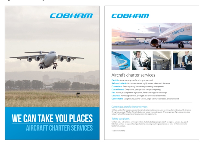 Seatback flyer for Cobham Aviation Services